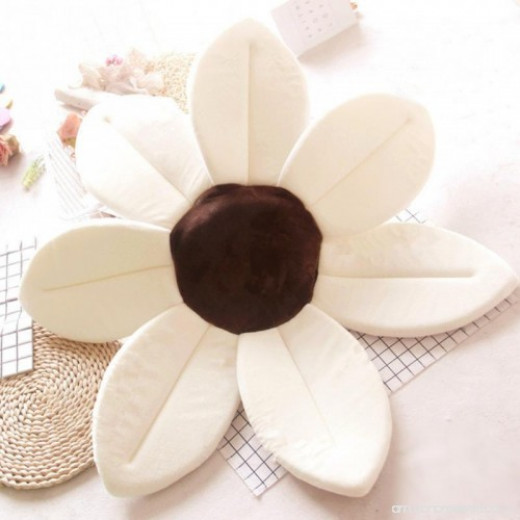 Baby Bath Pillow - Infant Tub Blooming Flower Cushion 80 cm, Ivory
