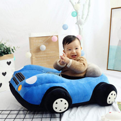 Children's Sofa Backrest Chair Stuffed Car Shaped Plush, Blue
