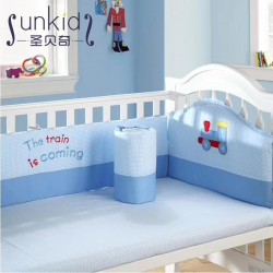 San Becky Crib Cotton Baby Bedding Package, Blue