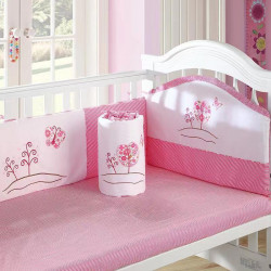 San Becky Crib Cotton Baby Bedding Package, Pink