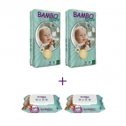 Bambo Nature Size 3 Big Package, 2 Diaper Packs + 2 Wipes