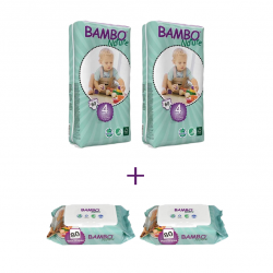 Bambo Nature Size 4 Big Package, 2 Diaper Packs + 2 Wipes