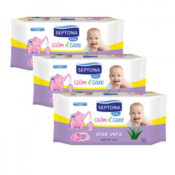 Septona Baby Wipes Aloe Vera, 64 pieces X3 Packs