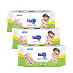 Septona Baby Wipes Sensitive, 64 Pieces X3 Packs