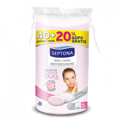 Septona Oval Cotton Pads with Silk Protein, 40 + 20 Free Pieces