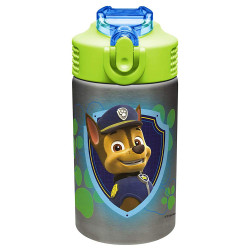 Zak Designs Paw Patrol Stainless Steel Water Bottle with Flip Up Straw, 15 oz.