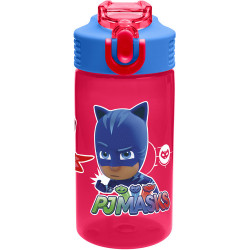 Zak PJ Masks Water Bottle with Straw, Catboy, Owlette & Gekko
