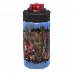 Zak Marvel Water Bottle with Straw, Captain America, Iron Man & Groot