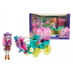 Enchantimals Sandella Seahorse, Friends and Western-styled Coach Doll