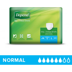 Depend Adult Diapers Slip Normal Large, 15 pcs
