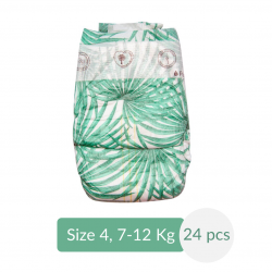 Pure Born - Organic Nappy Size 4, Palms Print, 7-12 Kg, 24 Nappies
