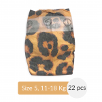 Pure Born - Organic Nappy Size 5, Leopard Print, 11-18 Kg, 22 Nappies