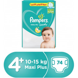 Pampers Baby-Dry Diapers, Size 4+, Maxi Plus, 10-15 kg, Mega Pack, 74 Count