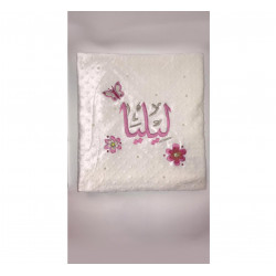 Rhinestone Personalized Embroidered Baby Fur Blanket with Jewels