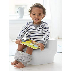 Skip Hop Made for Me Potty Training Toilet for Toddlers with Realistic Flushing Sound & Baby Wipes Holder, White