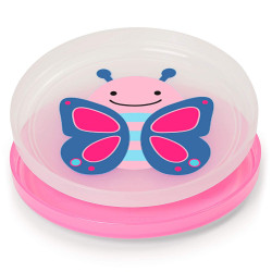 Skip Hop Baby Plate Non-Slip Smart Serve 2 Piece Rubber Grip, Butterfly