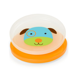 Skip Hop Baby Plate Non-Slip Smart Serve 2 Piece Rubber Grip, Dog