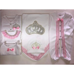 Rhinestone Newborn Baby Jewels Set, 8 Pieces, Queen Crown with Ribbons and Lace, White & Pink