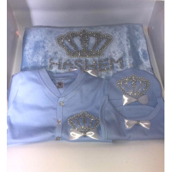 Rhinestone Personalized Newborn Baby Jewels Set, 5 Pieces, King Crown, Blue & Silver