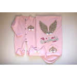 Rhinestone Personalized Angel Newborn Baby Jewels Set with Embroidered Name, 4 Pieces, Queen Crown with Ribbons, Pink