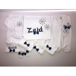 Rhinestone Personalized Newborn Baby Embroidered Set, 8 Pieces, Customize your Own Design and Color