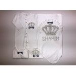 Rhinestone Personalized Newborn Baby Set (0-3 months), 4 Pieces, King Crown with Lace, Silver and Gray