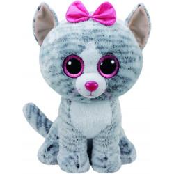 Ty Kiki Cat Plush Toy with Glitter Eye Glubschi's Beanie Boo's, 42 cm, Grey