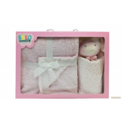 Double Layer Blanket (75x100 cm) with Dodo Security Blanket  - Color : Pink
