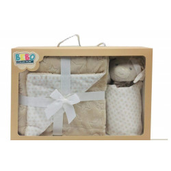 Double Layer Blanket (75x100 cm) with Dodo Security Blanket  - Color : Beige
