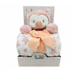 Fleece Baby Blanket (75x100 cm) with Big Toy - Color : Pink