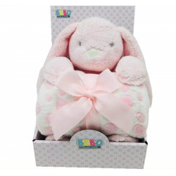 Fleece Baby Blanket (75x100 cm) with Big Toy - Color : Pink-Rabbit