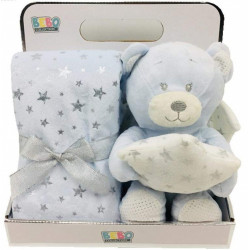 Fleece Baby Blanket (75x75 cm) with Big Toy - Color :  Blue-Bear