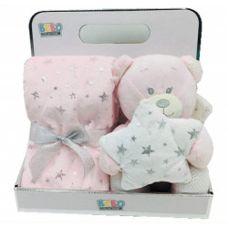 Fleece Baby Blanket (75x75 cm) with Big Toy - Color :  Pink-Bear