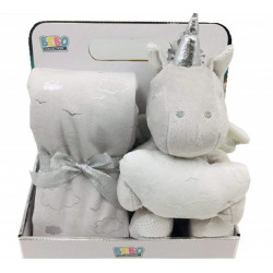 Fleece Baby Blanket (75x75 cm) with Big Toy - Color :  Grey-Unicorn
