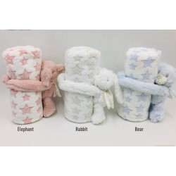 Fleece Baby Blanket (75x100 cm) With Small Toy