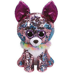 Ty Flippables Large Sequins Yappy The Chihuahua Soft Toy, 40 cm, Multi-Coloured