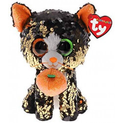 Ty- Flippables Jinx The Cat Sequins Soft Toy 23 cm, Multi-Coloured