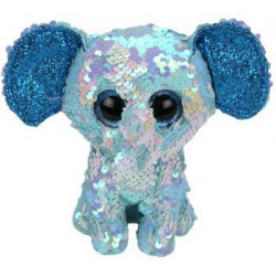 Ty- Flippables Stuart The Elephant Sequins Soft Toy 23 cm, Multi-Coloured