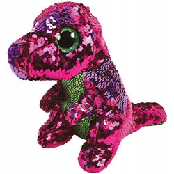 Ty Flippable Stompy The Pink/Green Sequin Dinosaur - 6""