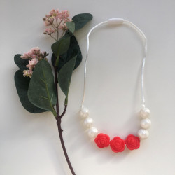 Munch Monsters Flower Teething Necklaces, Red & White