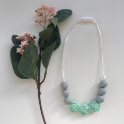 Munch Monsters Flower Teething Necklaces, Green & Grey