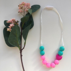 Munch Monsters Heart Teething Necklaces, Pink & Turquoise