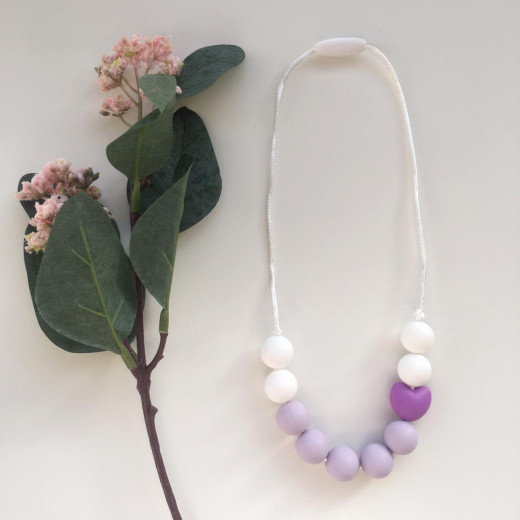 Munch Monsters Heart Teething Necklaces, White & Purple