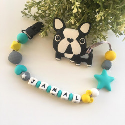 Munch Monsters Customized Baby Name Bulldog Teether Clip, Black