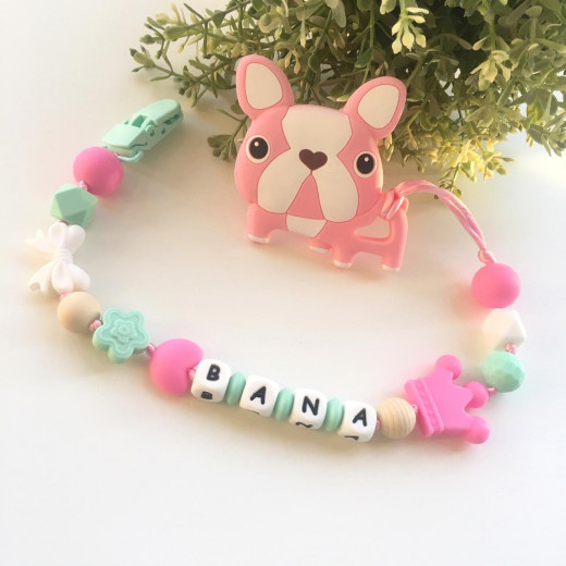 Munch Monsters Customized Baby Name Bulldog Teether Clip, Pink