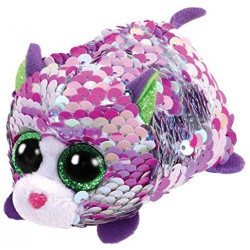 T&Y Ty Teeny Flippables Lilac - Sequin Purple cat 4""