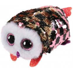 T&Y Ty Teeny Flippables Checks - Sequin Pink/blk owl 4""