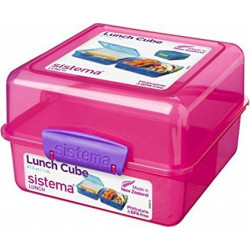 Sistema Lunch Cube To Go Colored Boxes, Pink, 1.4 Litre