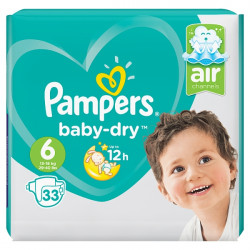 Pampers Baby-Dry Size 6 Extra Large Nappies (33 Piece)