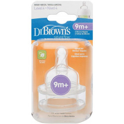 Dr. Brown's Level 4 Silicone Wide-Neck Nipple - 2 Pack